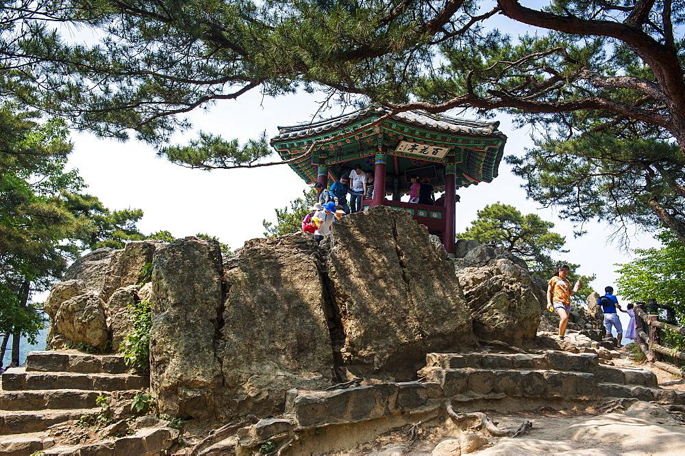 Goransa temple in the Buso Mountain Fortress in the Busosan Park, Buyeo, South Korea, Asia