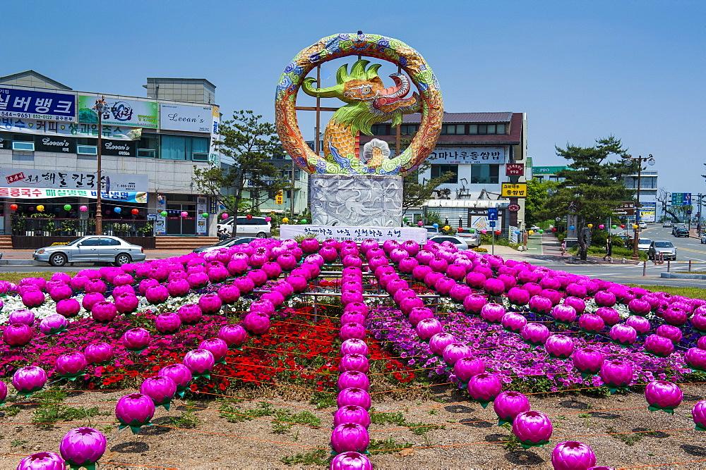 Colourful lanterns around the King Seong statue, Buyeo, South Korea, Asia