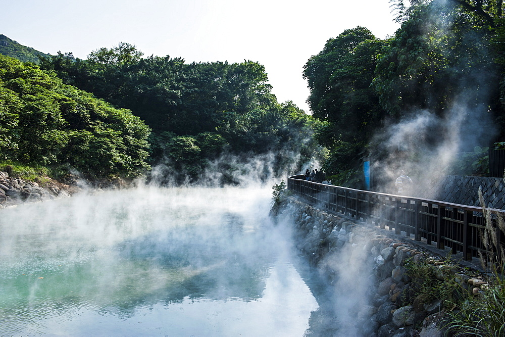 Steaming water in the Di-re valley, Beitou hot spring resort, Taipeh, Taiwan, Asia