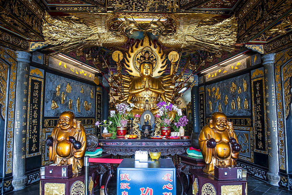 Golden Buddha in the Guandu Temple, Guandu, Taipei, Taiwan, Asia