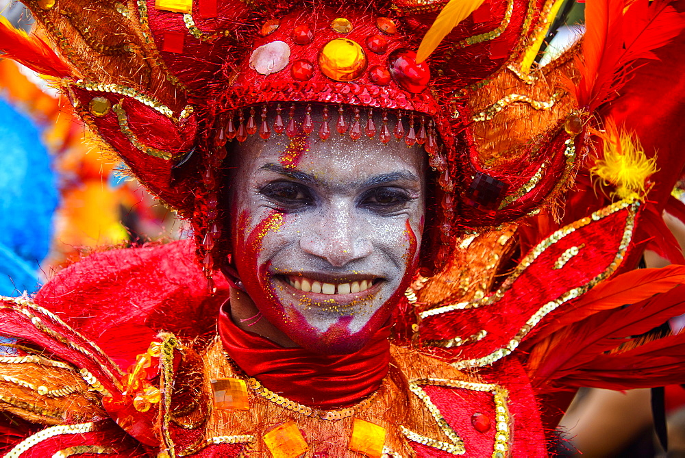 Colourfully dressed man, Carneval in Santo Domingo, Dominican Republic, West Indies, Caribbean, Central America