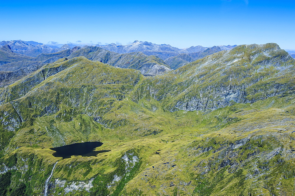 Aerial of the rugged mountains in Fiordland National Park, UNESCO World Heritage Site, South Island, New Zealand, Pacific