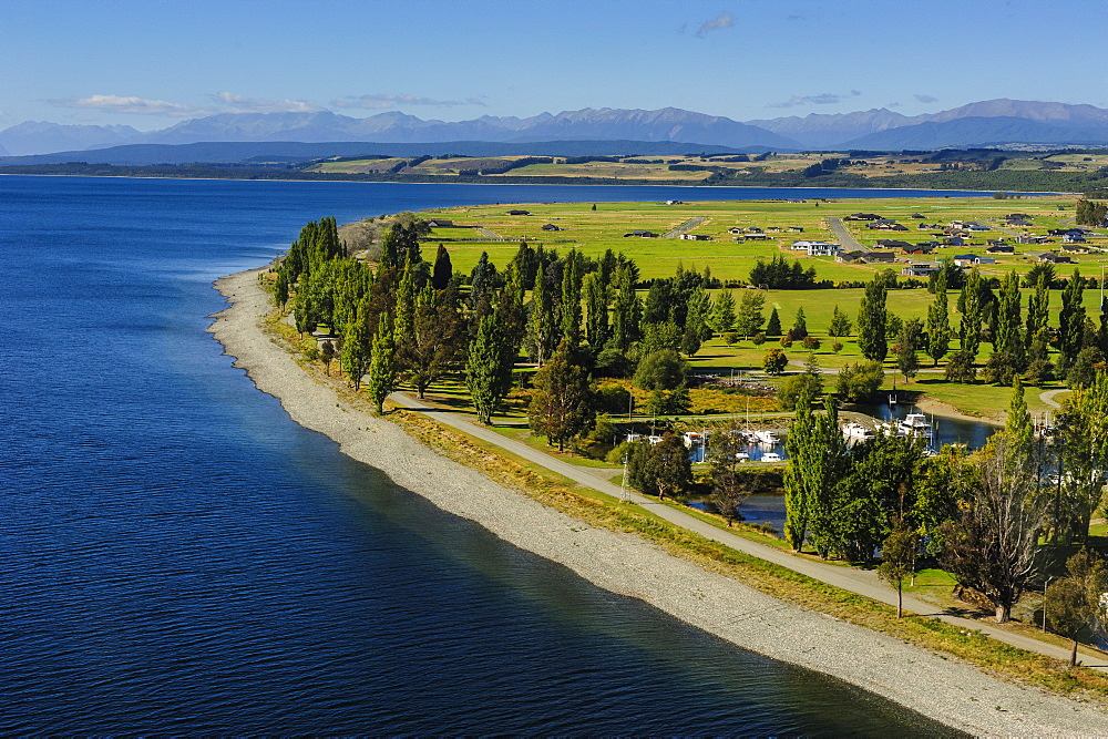 Aerial of Te Anau, Fiordland National Park, UNESCO World Heritage Site, South Island, New Zealand, Pacific