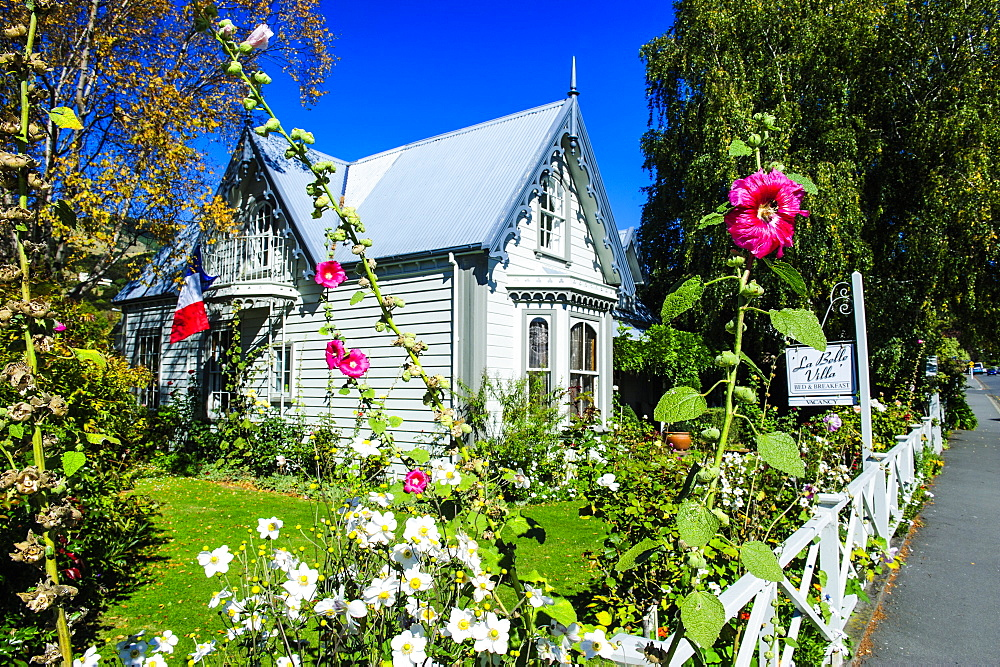 Colonial French style house in Akaroa, Banks Peninsula, Canterbury, South Island, New Zealand, Pacific