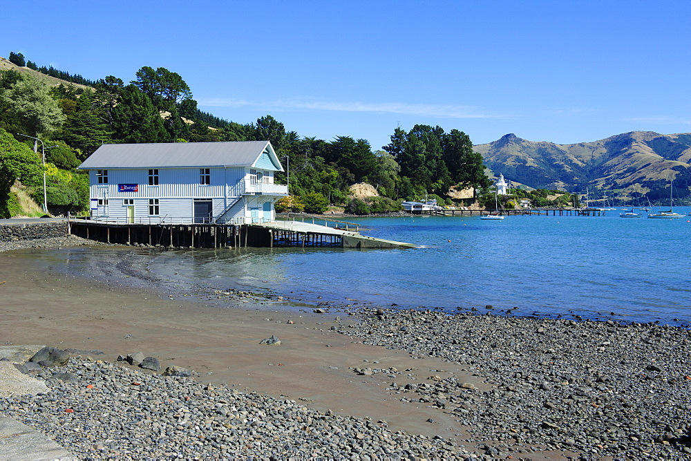 Boat house on the beach of Akaroa, Banks Peninsula, Canterbury, South Island, New Zealand, Pacific