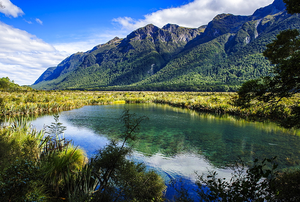 Mountains reflecting in the Mirror Lakes, Eglinton Valley, Fiordland National Park, UNESCO World Heritage Site, South Island, New Zealand, Pacific