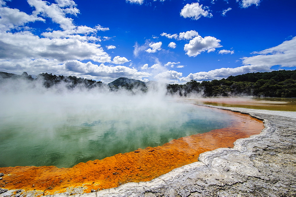 The colourful multi hued Champagne Pool, Wai-O-Tapu Thermal Wonderland, Waiotapu, North Island, New Zealand, Pacific