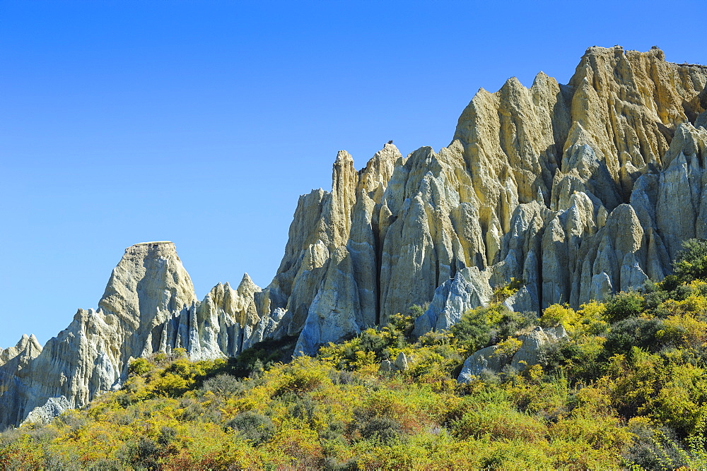 Huge sharp pinnacles of the Omarama clay cliffs, Otago, South Island, New Zealand, Pacific