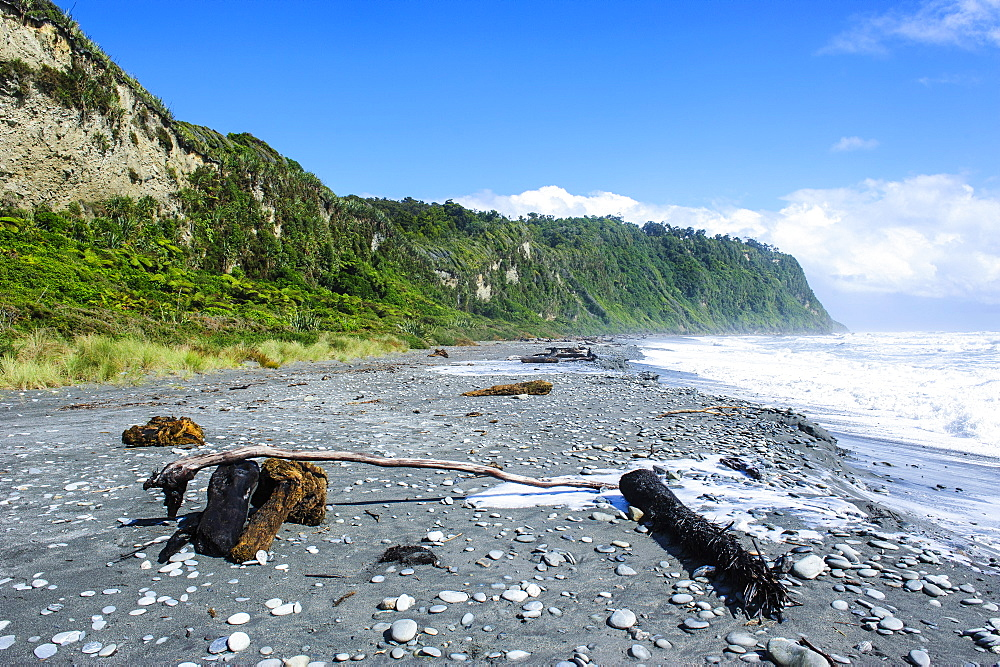 Greyrocky beach in Okarito along the road between Fox Glacier and Greymouth, South Island, New Zealand, Pacific