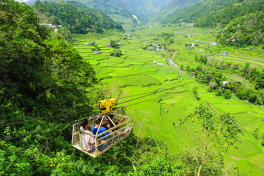 Cargo lift transporting people across the Hapao rice terraces, Banaue, UNESCO World Heritage Site, Luzon, Philippines, Southeast Asia, Asia