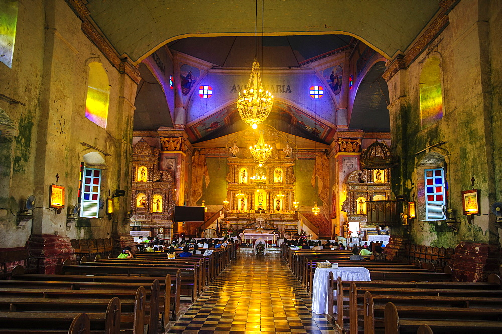 Church service in the colonial Spanish Baclayon Church in Bohol, Philippines, Southeast Asia, Asia