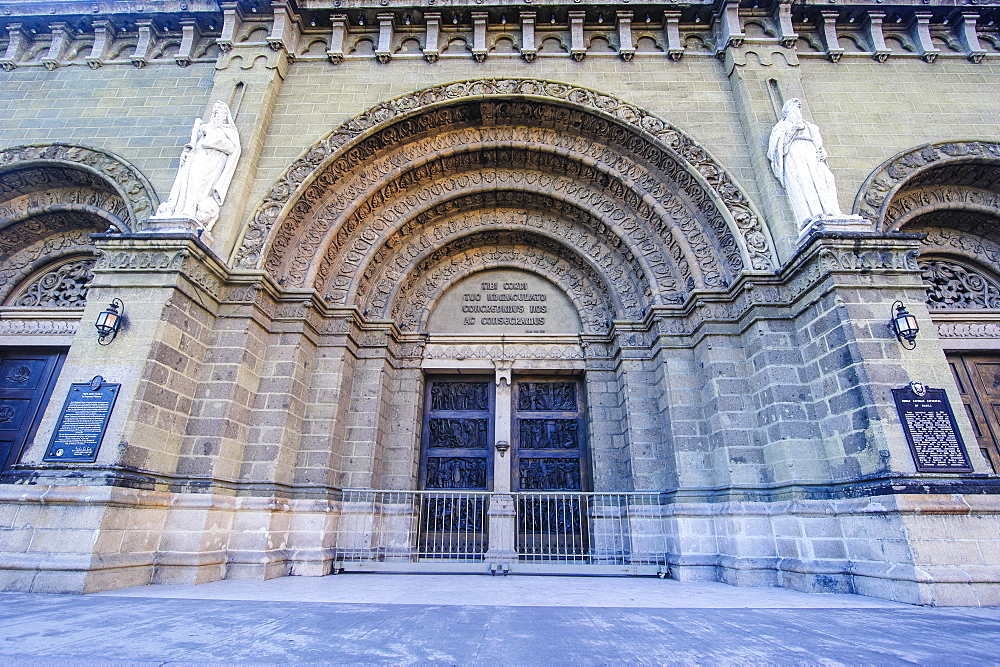 Entrance of the Manila Cathedral, Intramuros, Manila, Luzon, Philippines, Southeast Asia, Asia