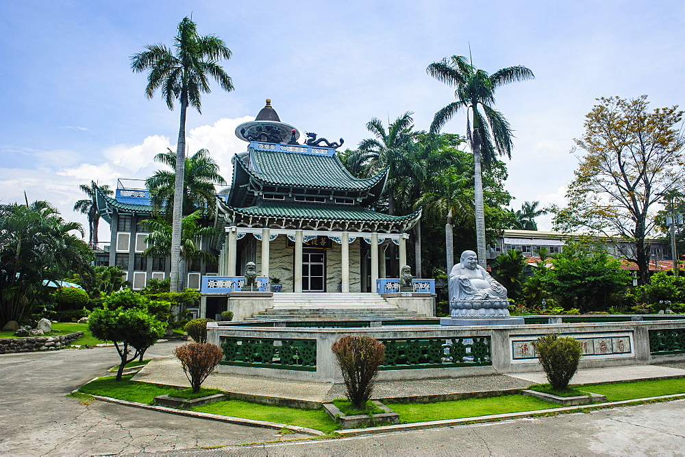 Buddhist statue in front of the Taoist temple in Davao, Mindanao, Philippines, Southeast Asia, Asia
