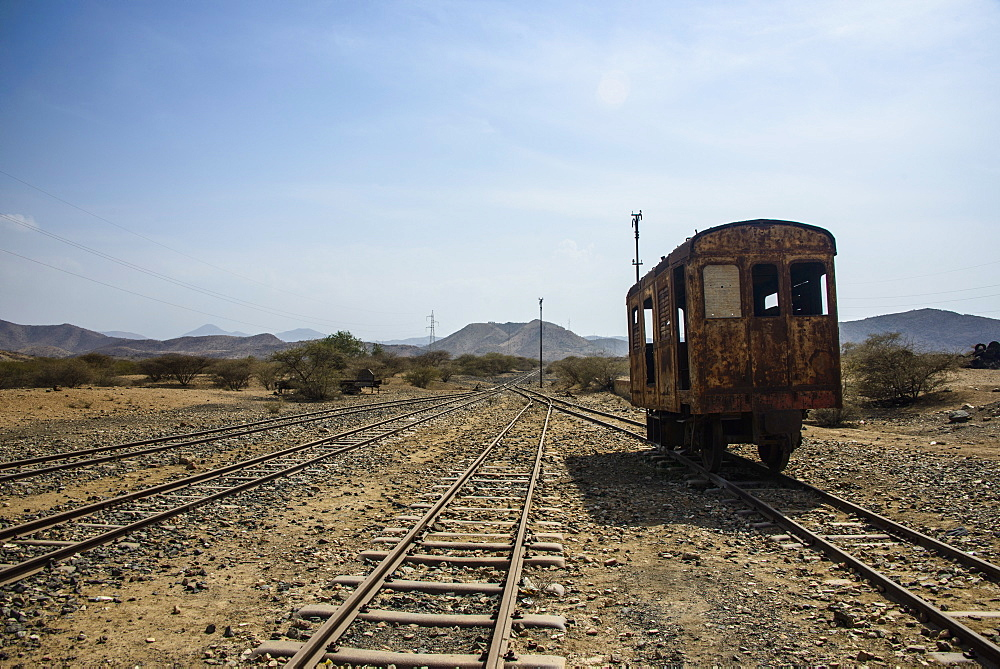 Old coaches of the Italian railway from Massawa to Asmara, Eritrea, Africa