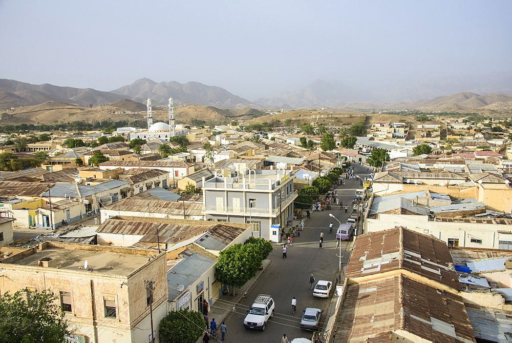View over the town of Keren in the highlands of Eritrea, Africa