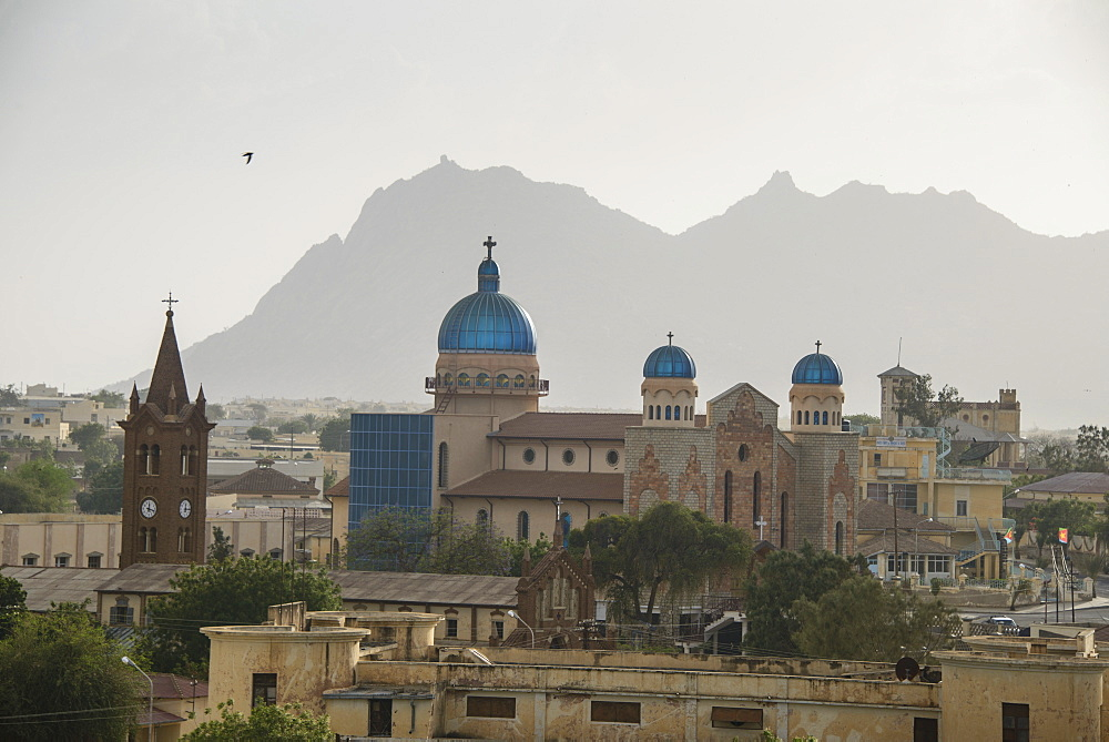 View over the town of Keren and the church of St. Anthony in the center, in the highlands of Eritrea, Africa