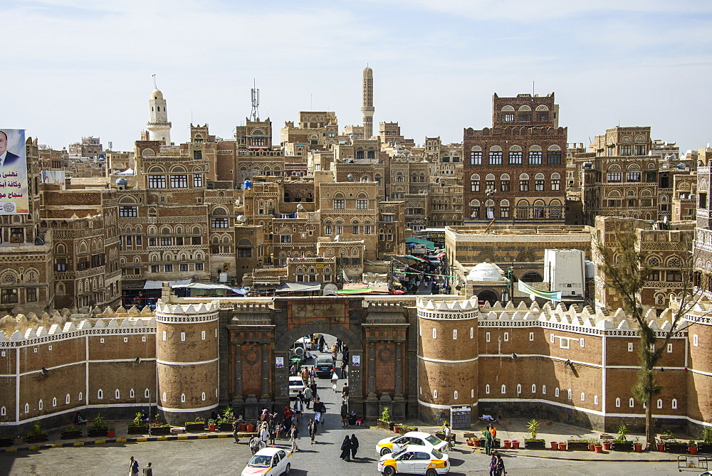 Bab al Yemen and the Old Town, UNESCO World Heritage Site, Sanaa, Yemen, Middle East