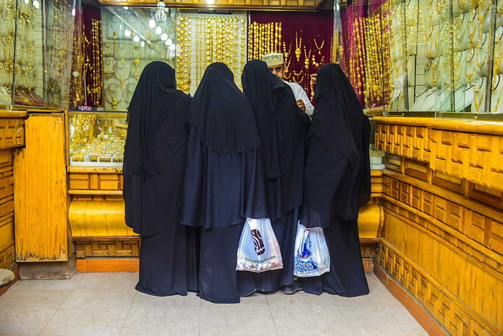 Women shopping at the gold market at the Old Town, UNESCO World Heritage Site, Sanaa, Yemen, Middle East