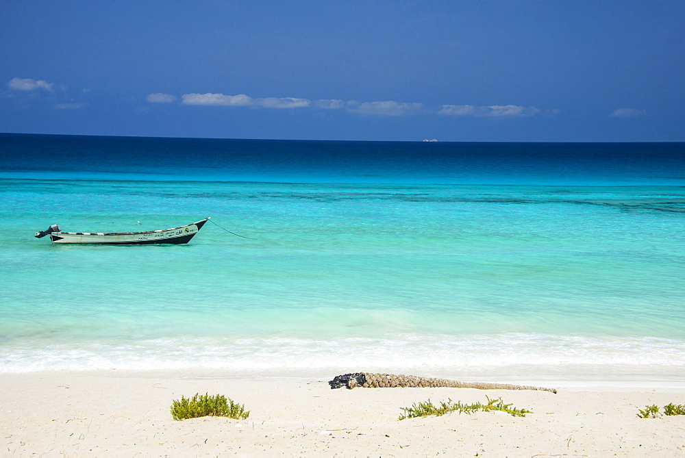 Turquoise water at the beach in Shuab Bay on the west coast of the island of Socotra, UNESCO World Heritage Site, Yemen, Middle East