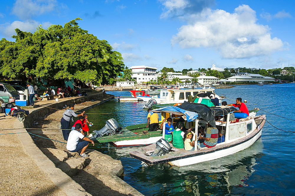 Little boats in the harbour of Neiafu, Vavau, Vavau Islands, Tonga, South Pacific, Pacific