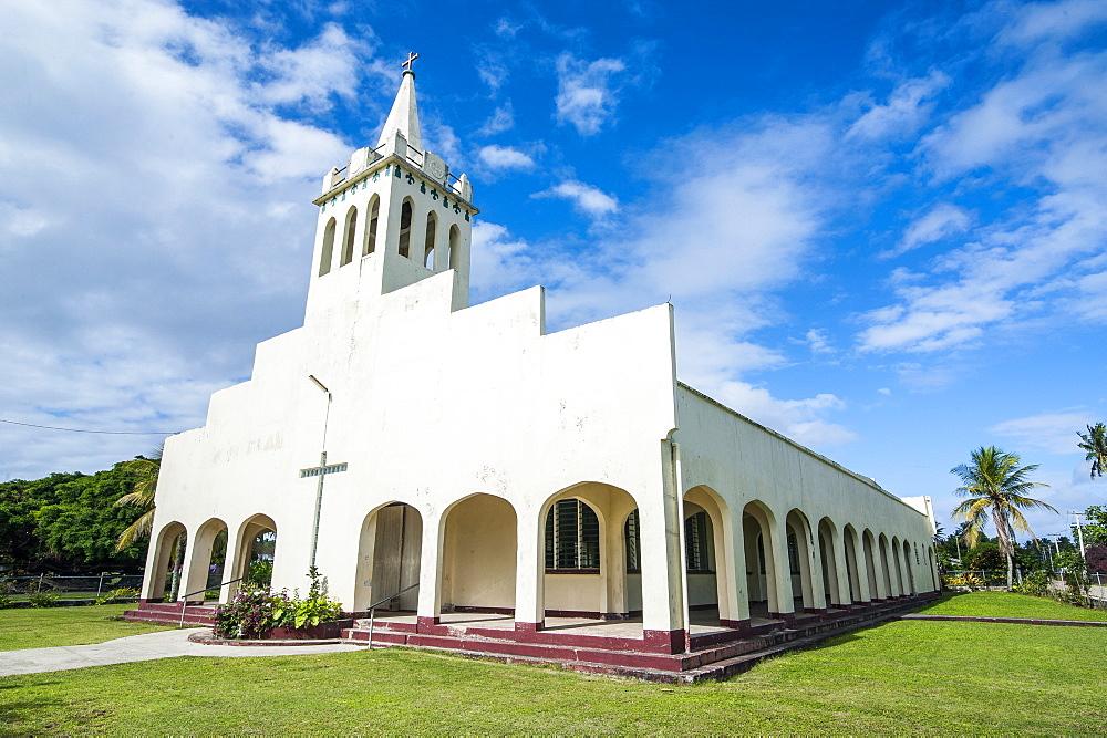 White Christian church in Haapai, Haapai Islands, Tonga, South Pacific, Pacific