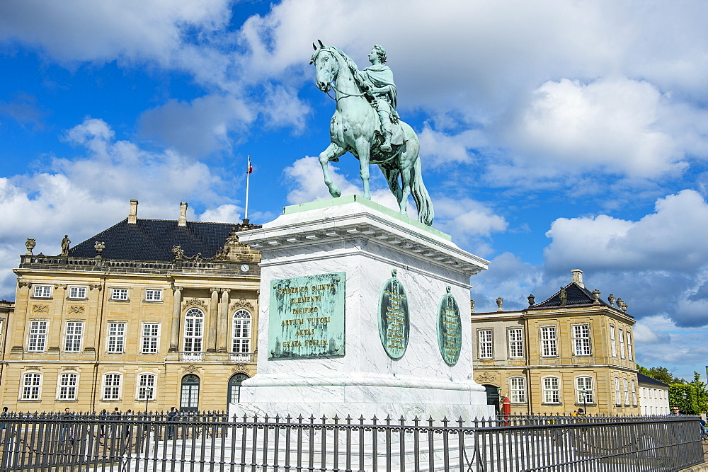 Statue of Frederick V by Jacques Francois Joseph Saly, Amalienborg, winter home of the Danish royal family, Copenhagen, Denmark, Scandinavia, Europe