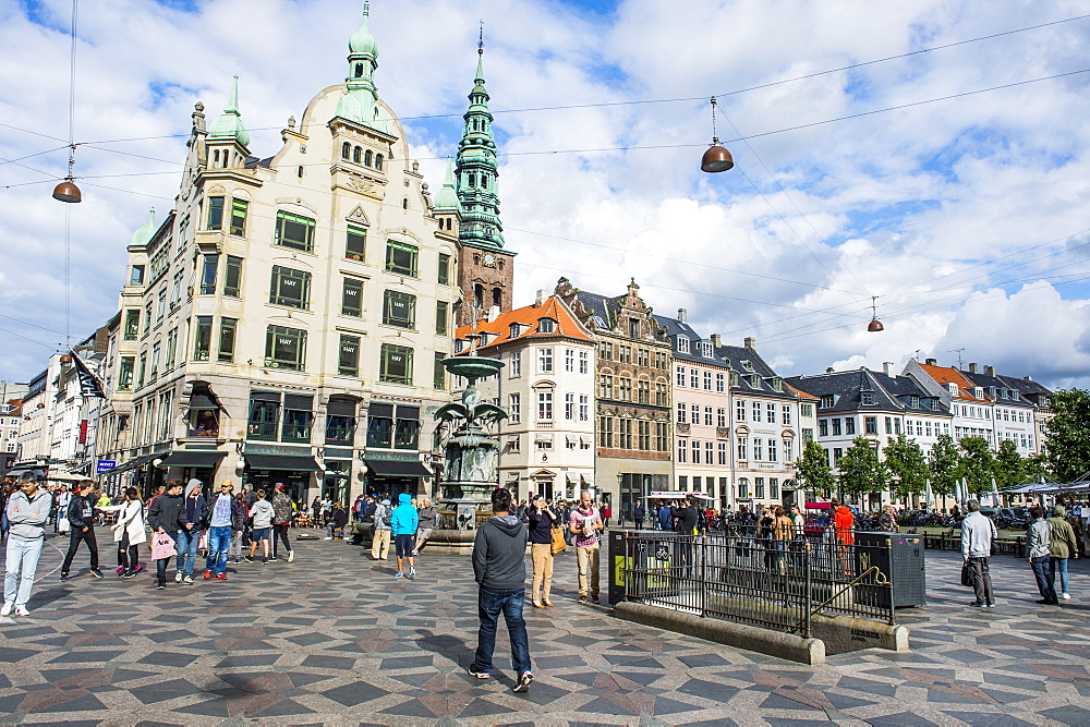 Tourists in Amagertorv (Amager Square), part of the Stroget pedestrian zone, Copernhagen, Denmark, Scandinavia, Europe