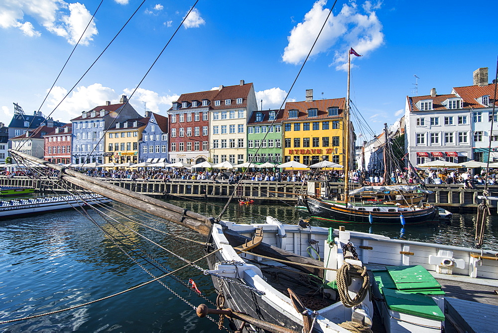 Fishing boats in Nyhavn, 17th century waterfront, Copenhagen, Denmark, Scandinavia, Europe