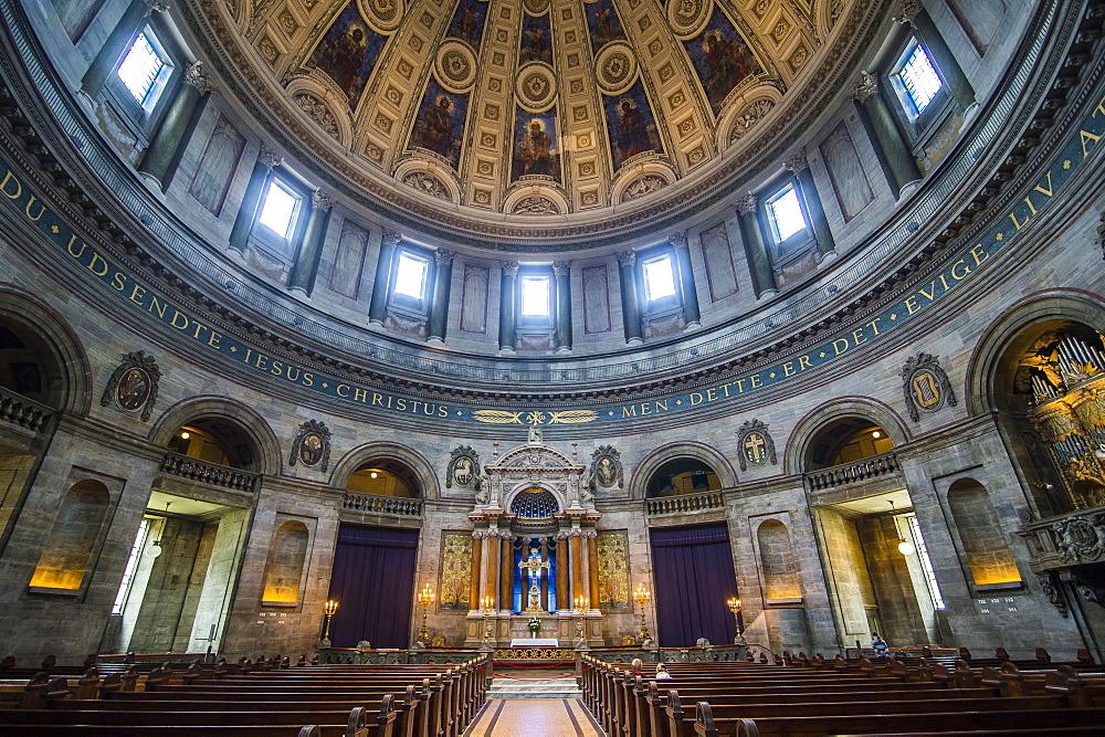 Inside the Frederik's Church (The Marble Church) (Marmorkirken), Copenhagen, Denmark, Scandinavia, Europe