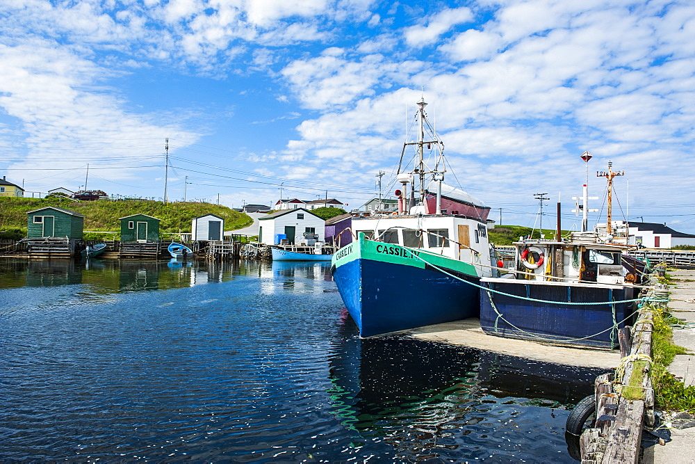 Fishing boats in the harbour of Port au Choix, Newfoundland, Canada, North America