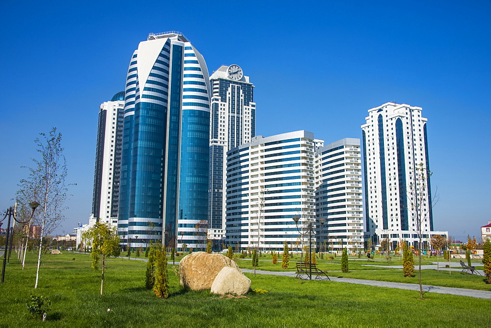 Modern business towers in downtown Grozny, Chechnya, Caucasus, Russia, Europe