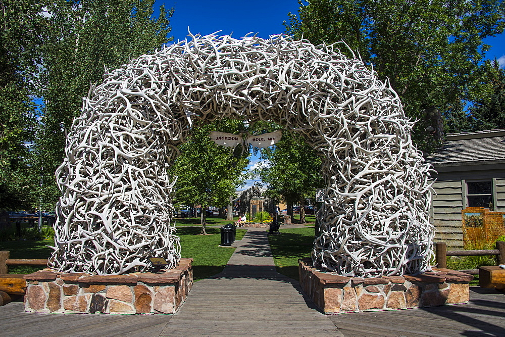 Monument of deer bones at a park in Jackson Hole, Wyoming, United States of America, North America