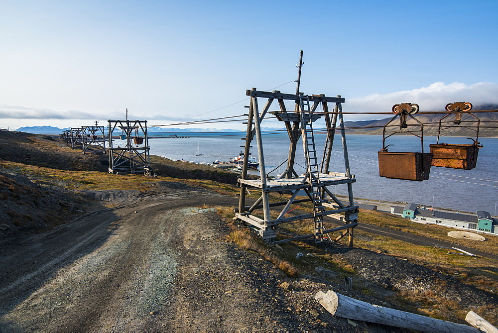 Old coal trolleys in Longyearbyen, Spitsbergen, Svalbard, Arctic, Norway, Scandinavia, Europe