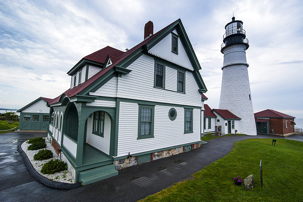 Portland Head Light, historic lighthouse in Cape Elizabeth, Maine, New England, United States of America, North America