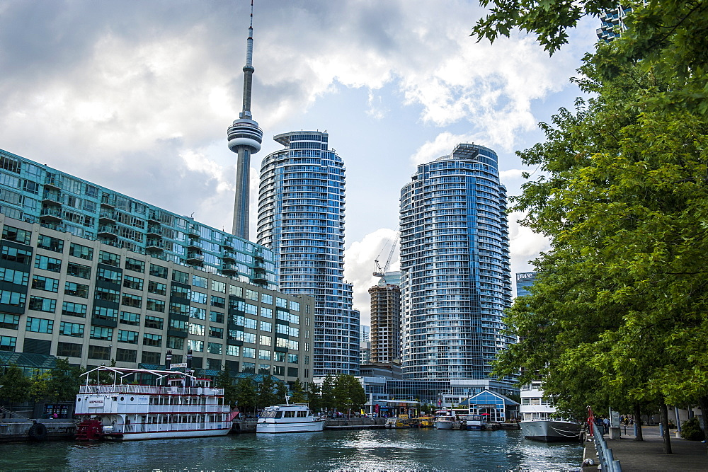 The CN Tower behind high rise buildings in downtown Toronto, Ontario, Canada, North America