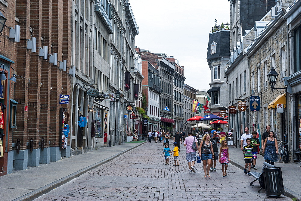 Cobblestone street in the old quarter of Montreal, Quebec, Canada, North America