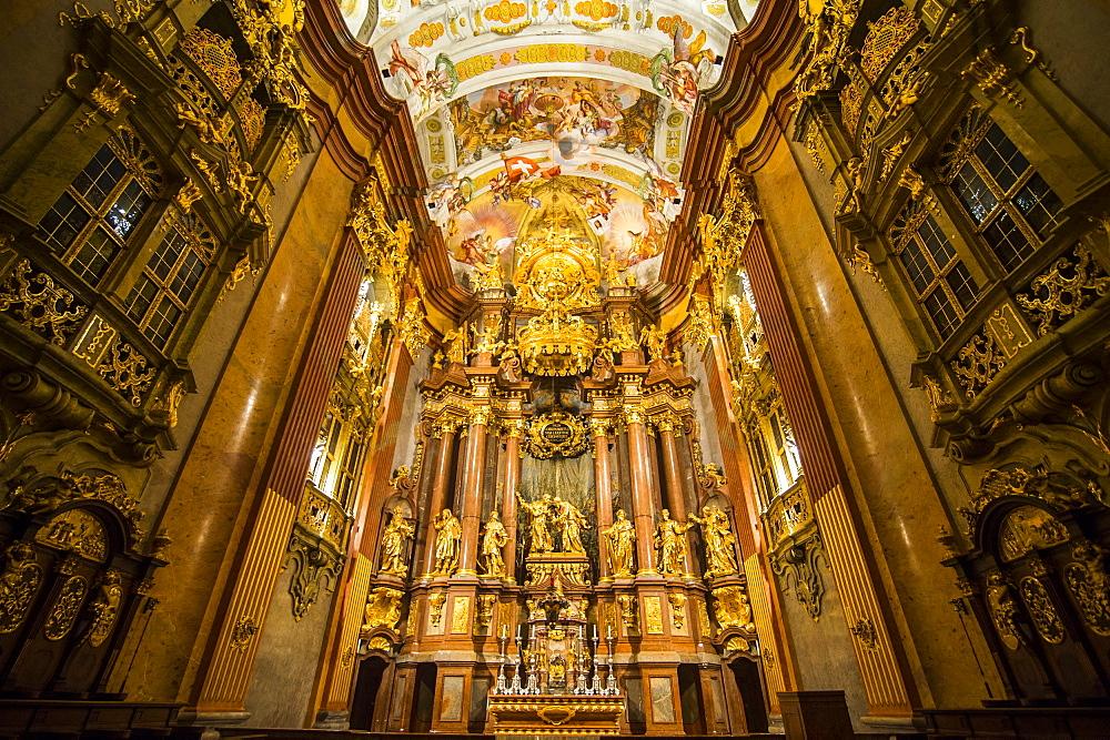 Church of, Melk Abbey, Benedictine abbey, Melk, Wachau Cultural Landscape, UNESCO World Heritage Site, Danube, Wachau, Austria, Europe