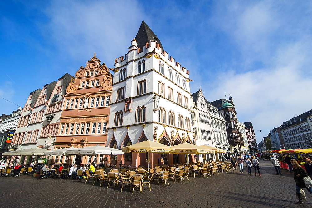 Main market in the center of medieval Trier, Moselle Valley, Rhineland-Palatinate, Germany, Europe