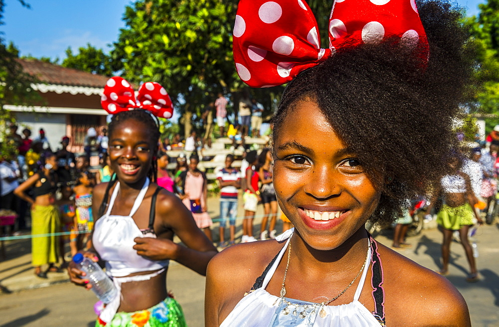 Friendly girls, Carneval in the town of Sao Tome, Sao Tome and Principe, Atlantic Ocean, Africa