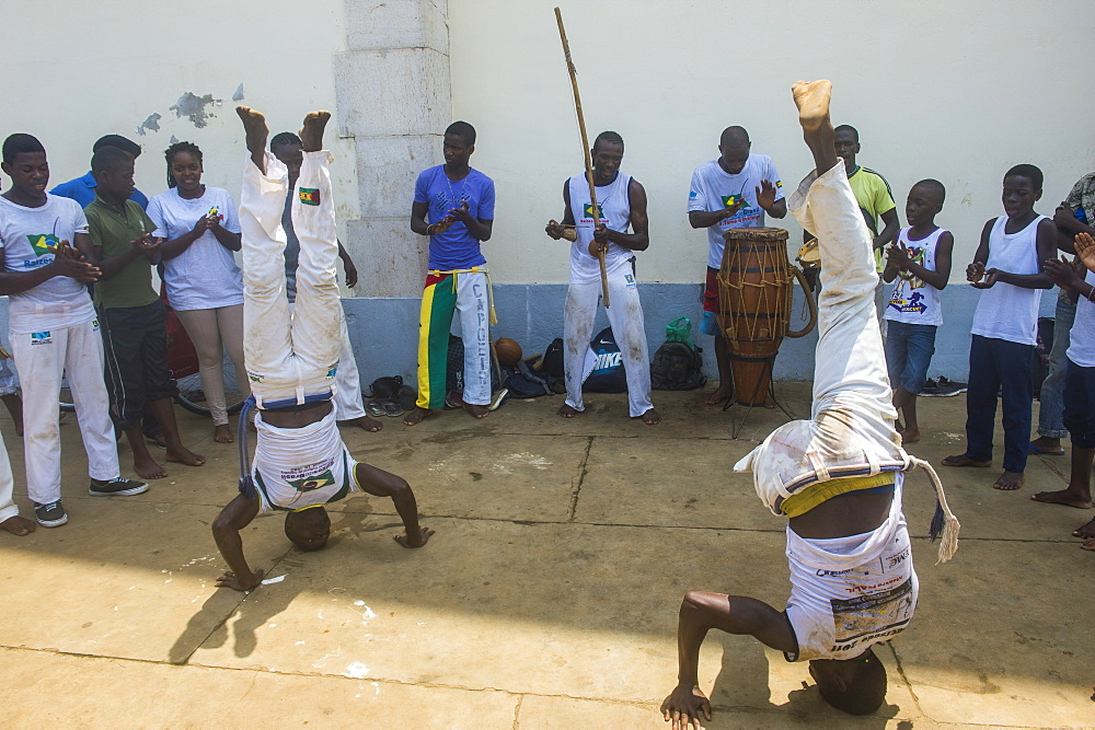 Young boys performing Capoeira in the city of Sao Tome, Sao Tome and Principe, Atlantic Ocean, Africa