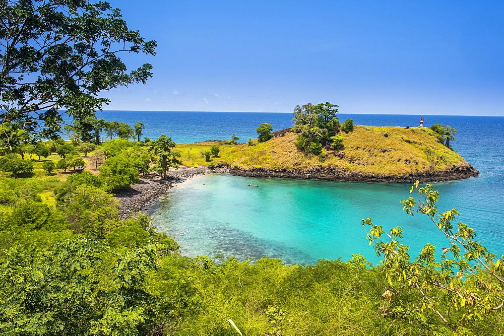 The turquoise waters of Lagoa Azul in northern Sao Tome, Sao Tome and Principe, Atlantic Ocean, Africa