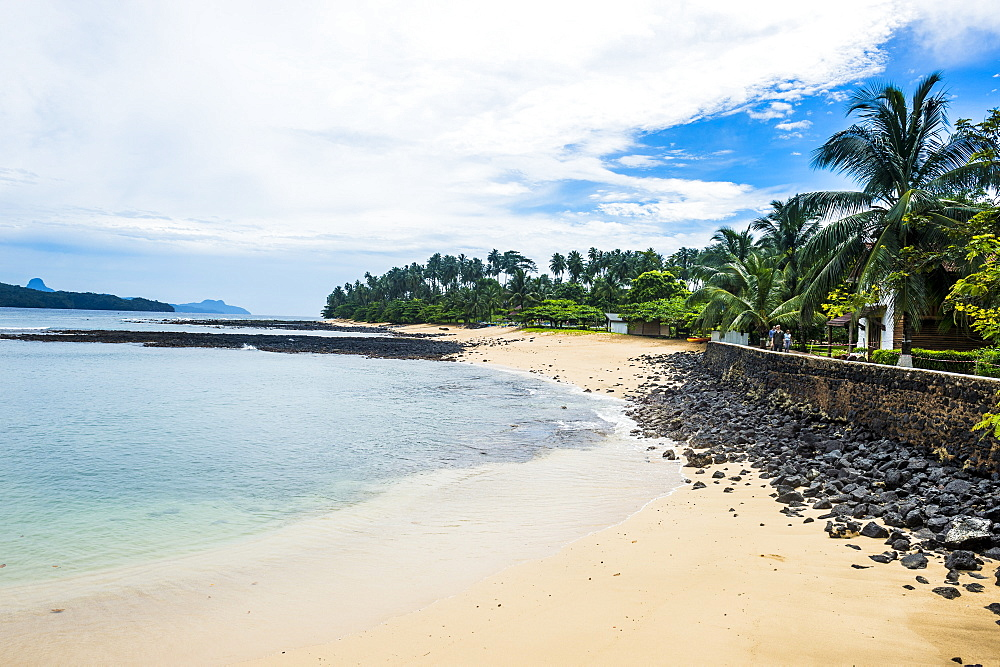 Sandy beach of a four star hotel in Ilheu das Rolas, Sao Tome and Principe, Atlantic Ocean, Africa