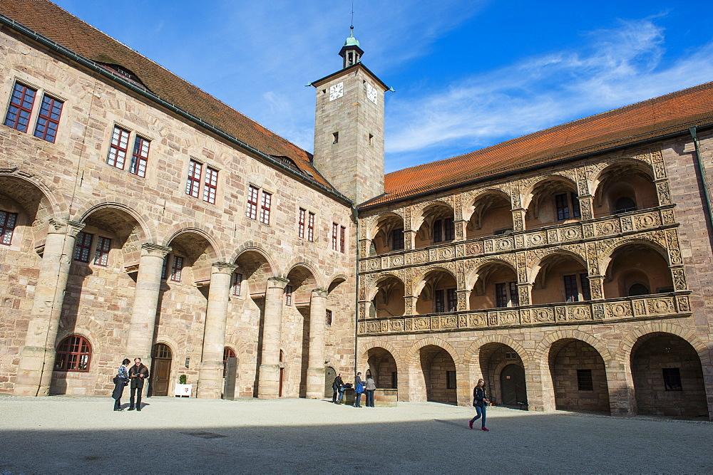 Renaissance inner court of the Plassenburg Castle, Kulmbach, Upper Franconia, Bavaria, Germany, Europe