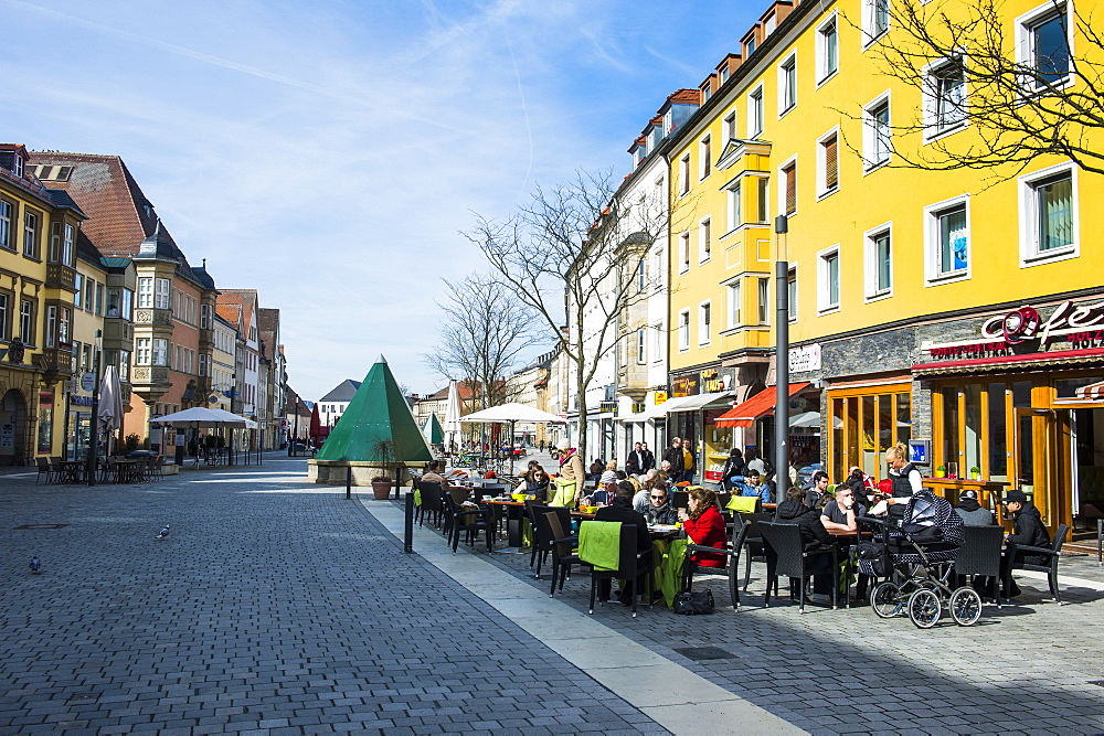 Pedestrian zone in Bayreuth, Upper Franconia, Bavaria, Germany, Europe