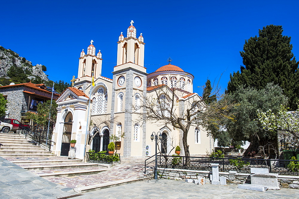 Church in Sianna village, Rhodes, Dodecanese Islands, Greek Islands, Greece, Europe