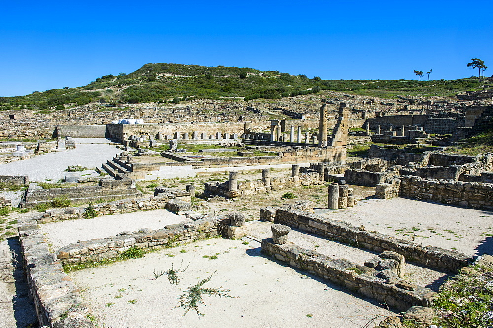 Ruins of ancient Kameiros, Kalavarda, Rhodes, Dodecanese Islands, Greek Islands, Greece, Europe