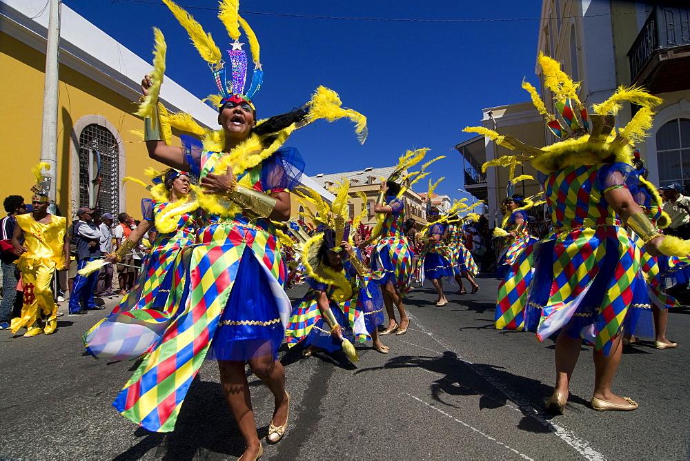 Costumed women dancing, Carnival, Mindelo, Sao Vicente, Cape Verde, Africa