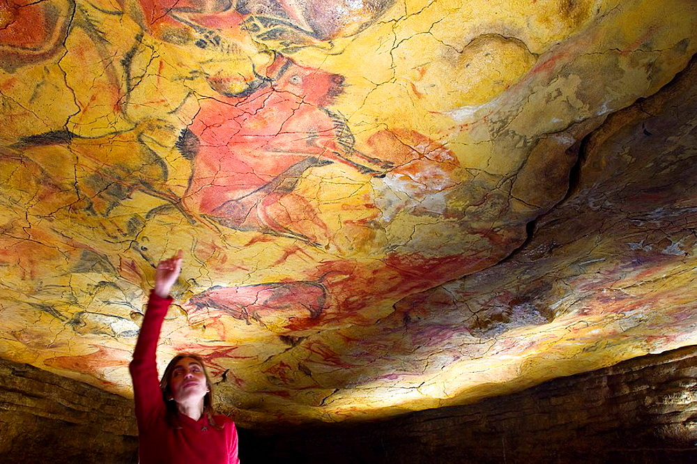 Upper Paleolithic cave paintings in the Cave of Altamira replica, Santillana del Mar, Cantabria, Spain