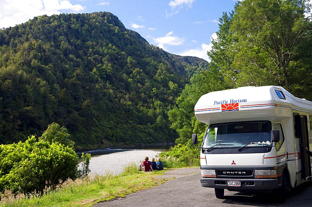 Motorhome on the Buller River, South Island, New Zealand