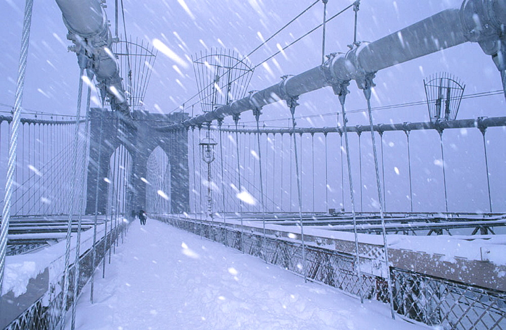 Brooklyn Bridge in winter, New York City, USA - 817-10432